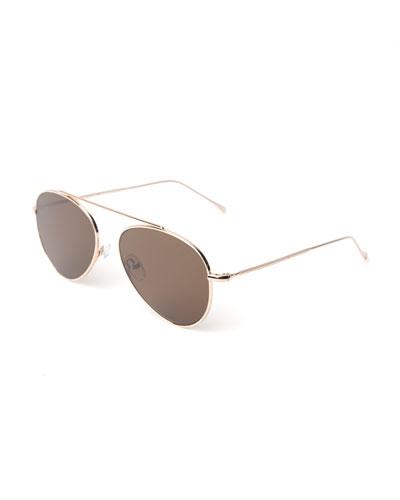 Dor II Straight Brow Bar Aviator Sunglasses