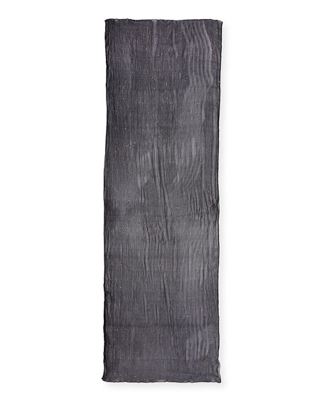 Foil-Sprinkled Crinkle-Silk Scarf