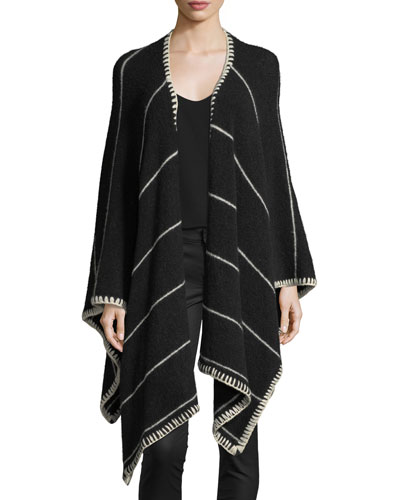 Kamala Striped Oversized Draped Poncho