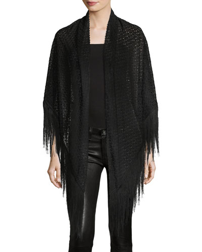 Lace Wrap w/ Long Fringe Trim