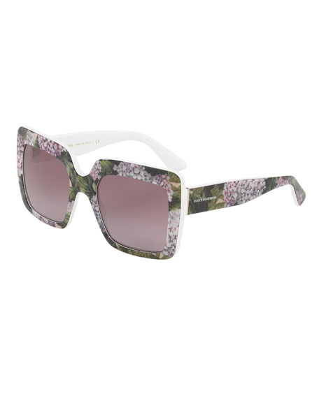 Dolce & Gabbana Gradient Squared Cat-Eye Acetate Sunglasses
