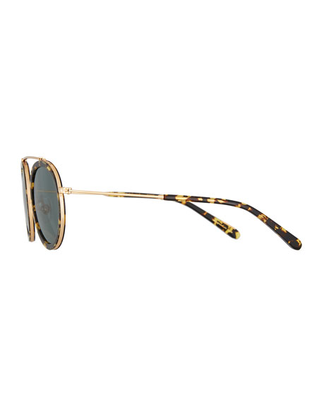 Conti Round Polarized Sunglasses, Brown Pattern