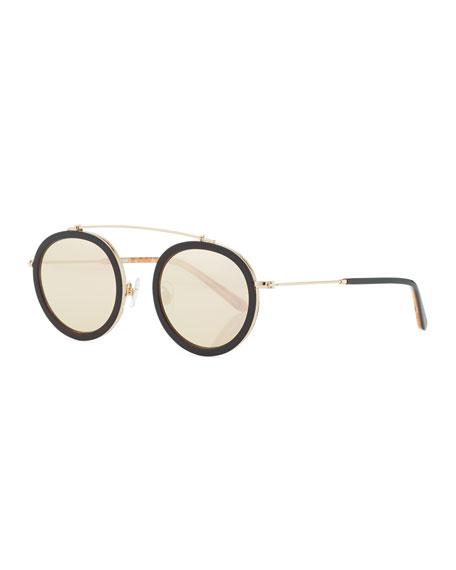 Conti Mirrored Aviator Sunglasses, Rose