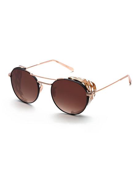 Orleans Round Gradient Sunglasses w/ Side Blinders