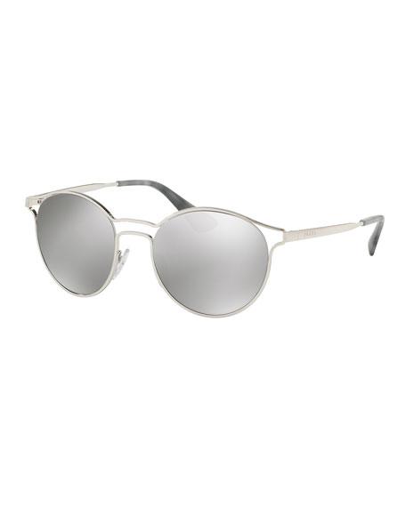Round Metal Open-Inset Sunglasses