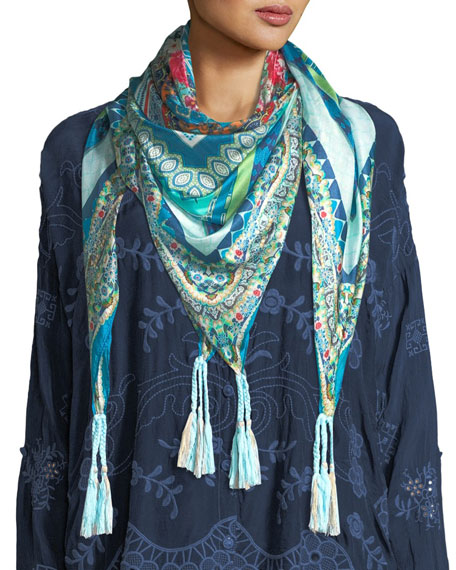 Johnny Was Boutique Silk Georgette Scarf and Matching