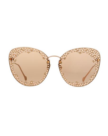 Fiore Rimless Cat-Eye Sunglasses w/ Crystal Embellishment