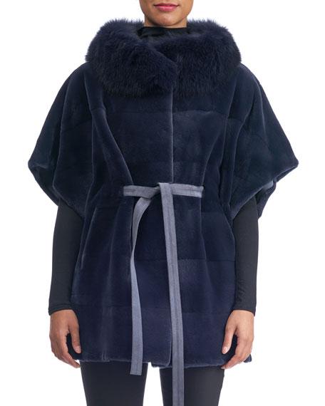 GORSKI SHEARED MINK SUEDE-BELT HORIZONTAL CAPE WITH FOX-COLLAR