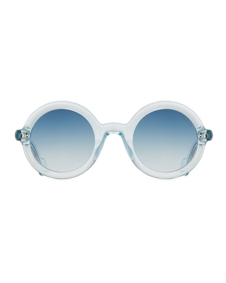 Moncler Round Transparent Acetate Sunglasses, Blue