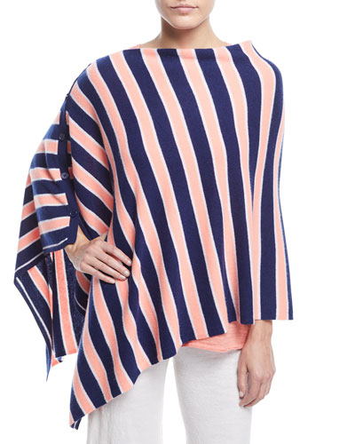 Striped Cashmere Poncho, Plus Size