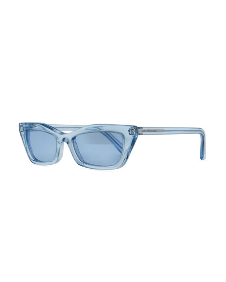 Balenciaga Runway Cat-Eye Shiny Sunglasses, Blue