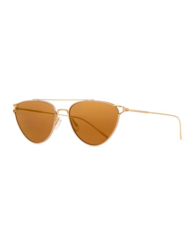 Floriana Cat-Eye Metal Sunglasses, Taupe