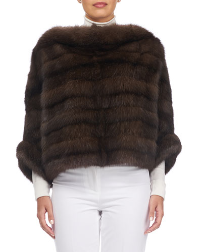 Horizontal Sable Fur Sleeved Cape