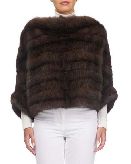 Horizontal Sable Fur Sleeved Cape