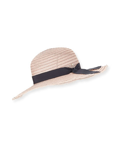 Iris Two-Tone Sun Hat w/ Hat Band & Bow