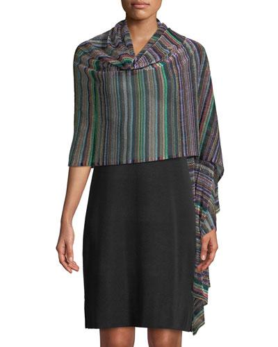 Multi-Stripe Shimmer Shawl