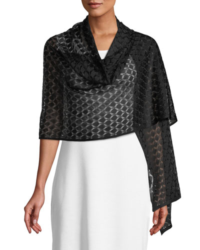 Knit Diamond-Pattern Evening Shawl