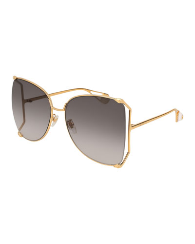 Oversized Metal Butterfly Sunglasses  Gold/Gray