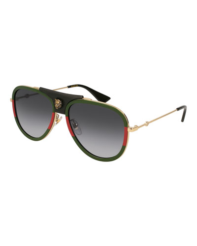 Gradient Web Aviator Sunglasses w/ Leather Trim  Gold/Green/Red