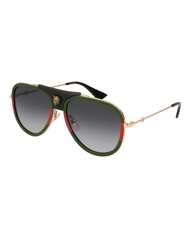 bbbbdde666ec Gucci Gradient Web Aviator Sunglasses w/ Leather Trim, Gold/Green/Red
