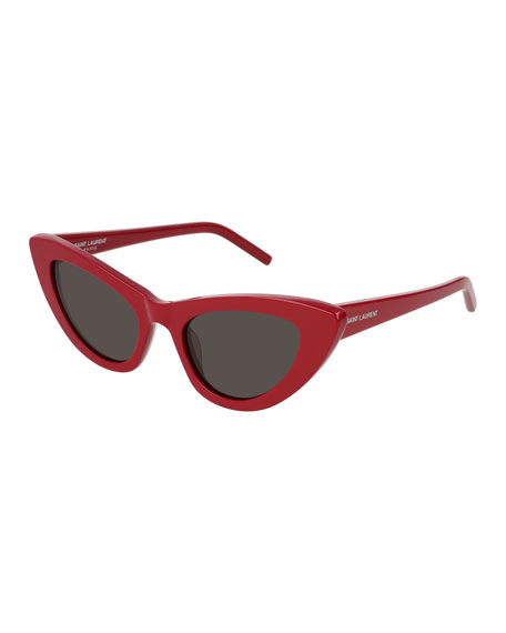 Saint Laurent Lily Cat-Eye Acetate Sunglasses, Red