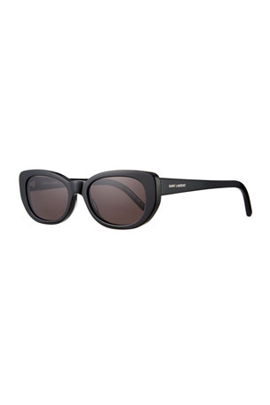 Saint Laurent SL 183 Betty 66mm Acetate Shield Sunglasses, Black