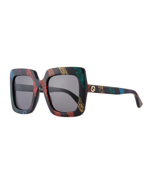 d45a967f80bdf Gucci Glitter Striped Acetate Rectangle Sunglasses
