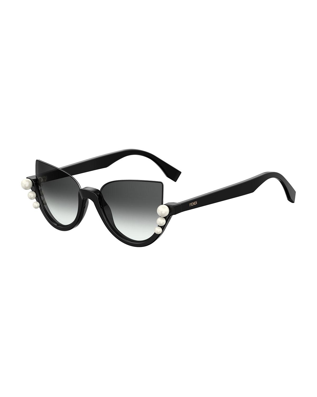 67a51f5414 Fendi Blink Half-Rim Pearl Cat-Eye Sunglasses