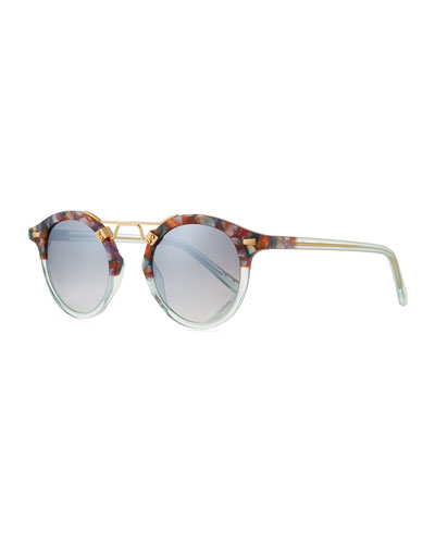St. Louis Two-Tone Round Mirrored Sunglasses