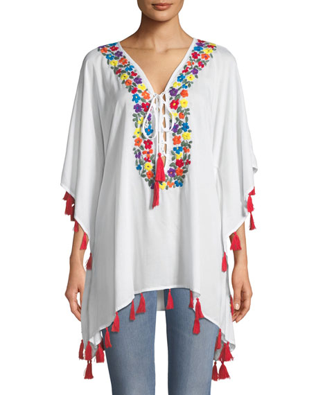 Bindya Floral-Embroidered Lace-Up Tunic