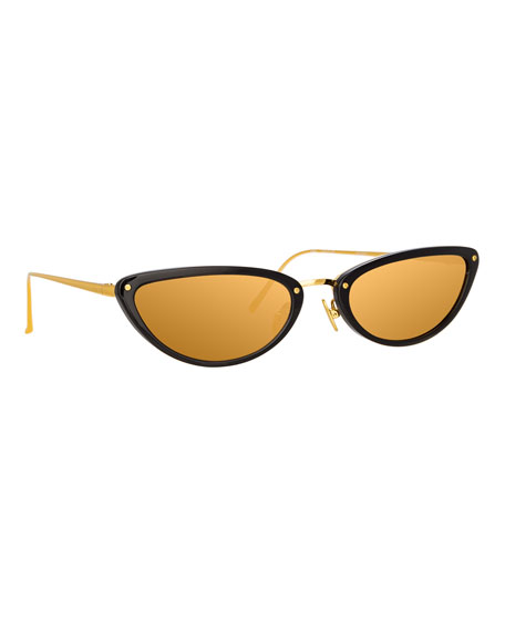 Linda Farrow Slim Two-Tone Cat-Eye Mirrored Sunglasses, Black