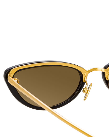 Slim Two-Tone Cat-Eye Mirrored Sunglasses, Black Pattern