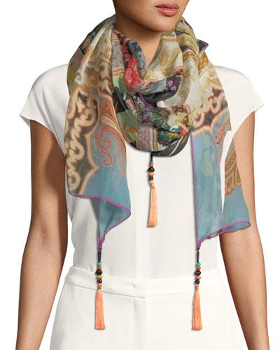 Paisley-Floral Silk Scarf w/ Tassels