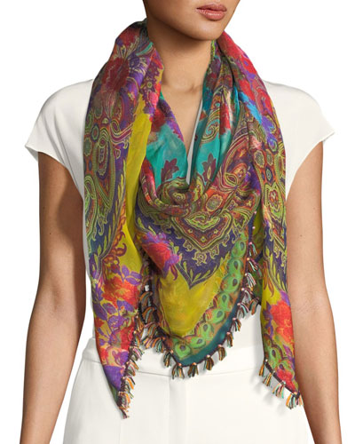 Paisley Silk-Blend Scarf w/ Tassel Edge