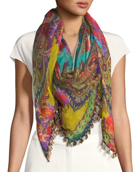 Etro Paisley Silk-Blend Scarf w/ Tassel Edge