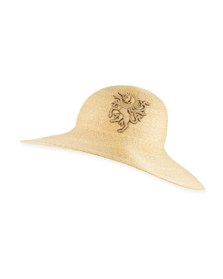 Philip Treacy Straw Sun Hat w/ Unicorn Logo