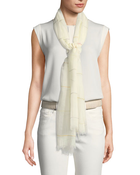 Cashmere-Cotton Lightweight Striped Scarf