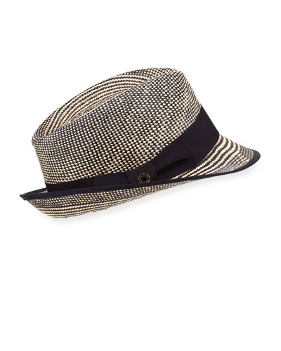 Oval Bicolor Straw Fedora Hat