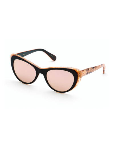 Irma Round Mirrored Sunglasses, Mystic