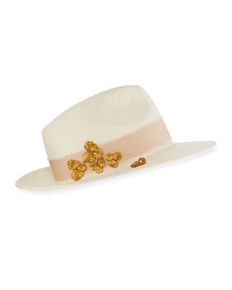 Lara Panama Straw Hat with Flower Detail