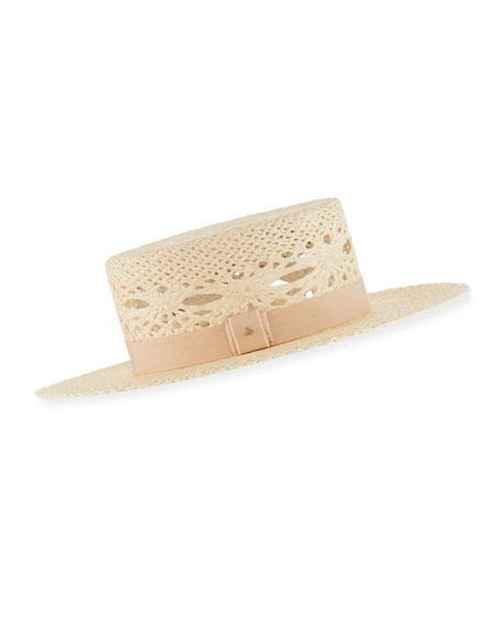 JANE TAYLOR Lolita Panama Open-Weave Straw Hat in Beige