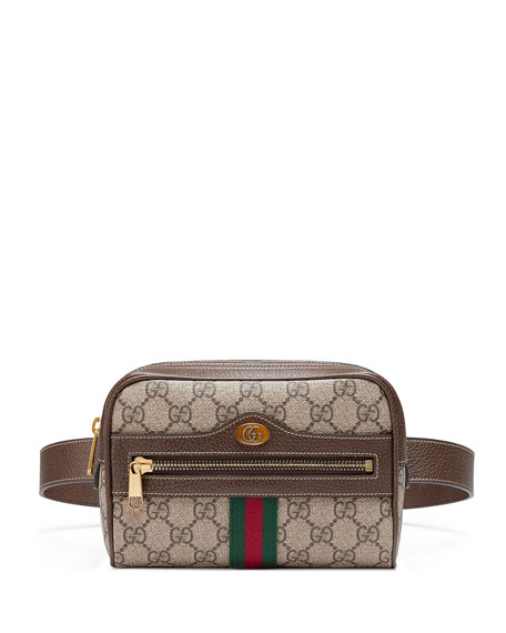 Small Ophidia Gg Supreme Canvas Belt Bag in Neutrals
