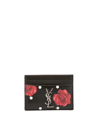 Rose-Print Dotted Card Case
