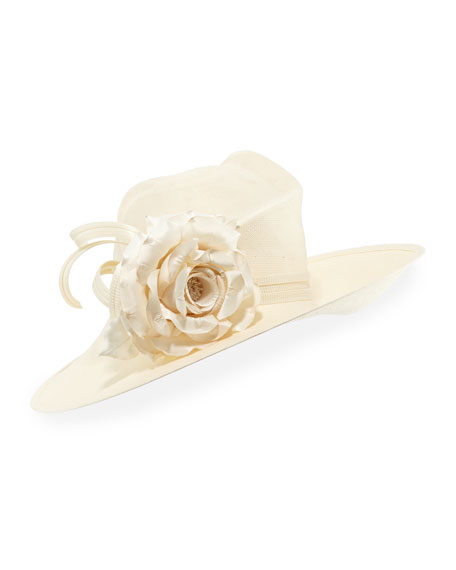 Straw Panama Hat w/ Rosette