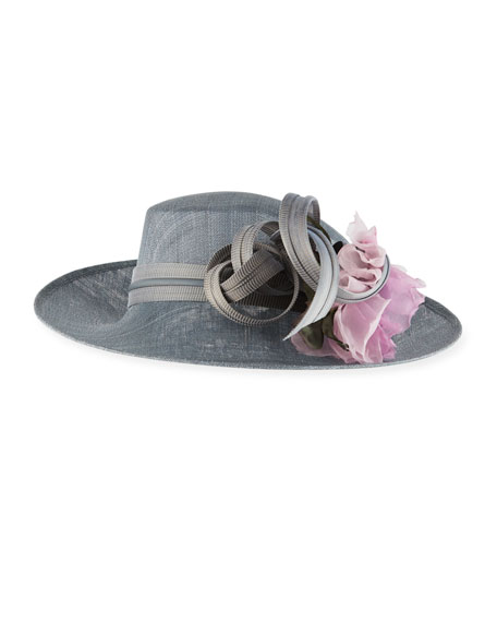Upsweep Straw Leather-Trim Hat w/ Ribbon & Rosette Detail