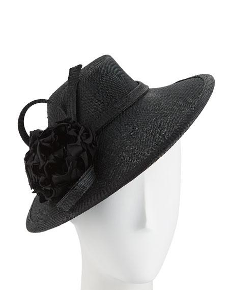 Zigzag Straw Hat w/ Flower & Twist Trim