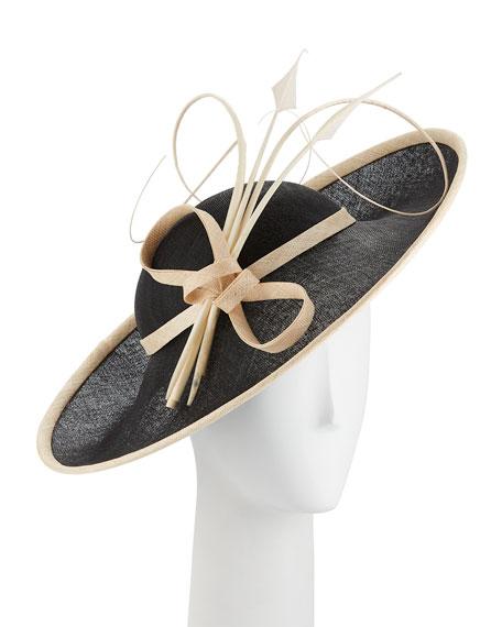 Two-Tone Side Sweep Straw Hat w/ Feather Trim