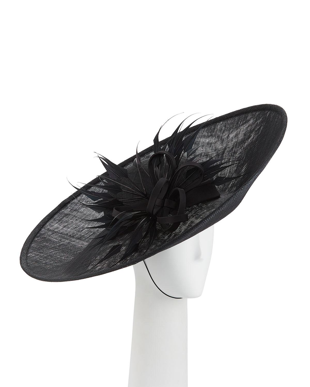 a5c6a4fa9af Rachel Trevor Morgan Straw Side Sweep Hat w  Arrow Feathers