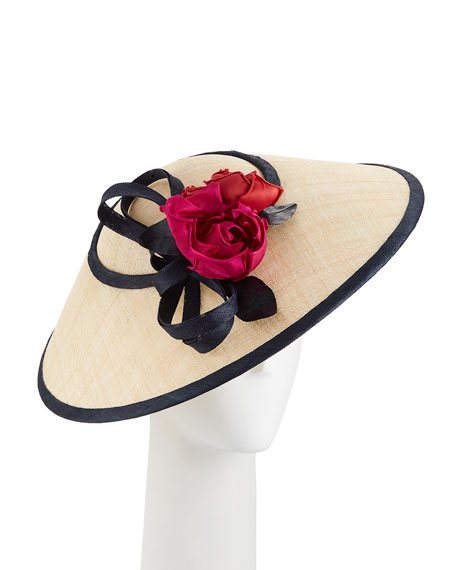 Two-Tone Straw Perching Hat w/ Rosettes