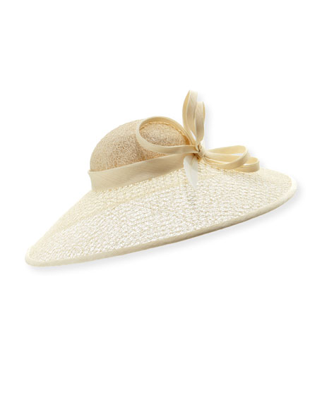 Textured Mesh Straw Hat w/ Twist & Feather Trim
